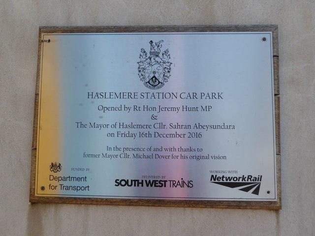 Plaque on Haslemere Station Car Park