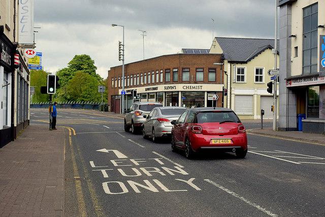 Traffic at Dublin Road Corner, Omagh
