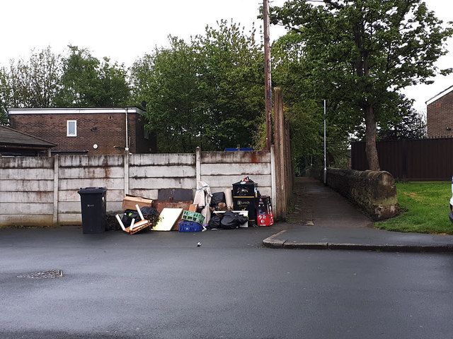 Rubbish for collection, Rossefield Avenue, Bramley