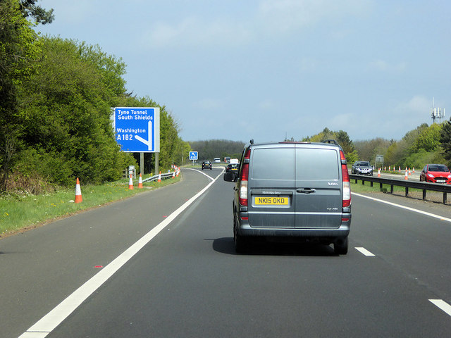 A194(M) at Junction 1 (A182 to Washington)