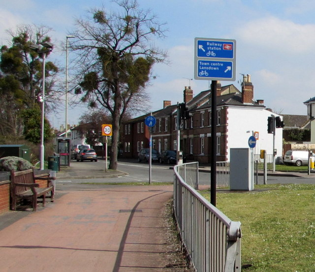 Cycle route direction signs on the north side of Gloucester Road, Cheltenham