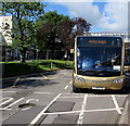 ST2995 : Please pay exact fare notice on a Stagecoach bus, Cwmbran bus station by Jaggery