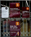 ST3187 : Social distancing notices on Sainsbury's Local, John Frost Square, Newport by Jaggery