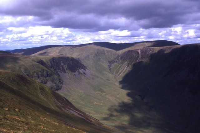 The uppermost part of the valley of Carrifran Burn as seen from Saddle Yoke