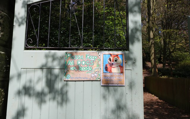 Sign on gate