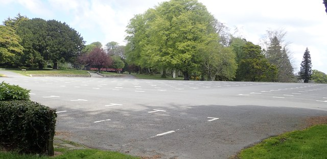 Deserted main car park at Tollymore Forest Park