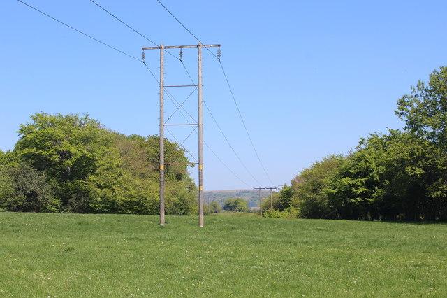 Pylons in pasture near Twyn College
