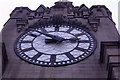 SJ3390 : Close up view of the clock on the Royal Liver Building by Colin Park