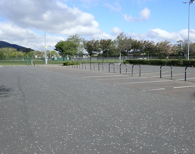 Empty car and bus park at Donard Park, Newcastle