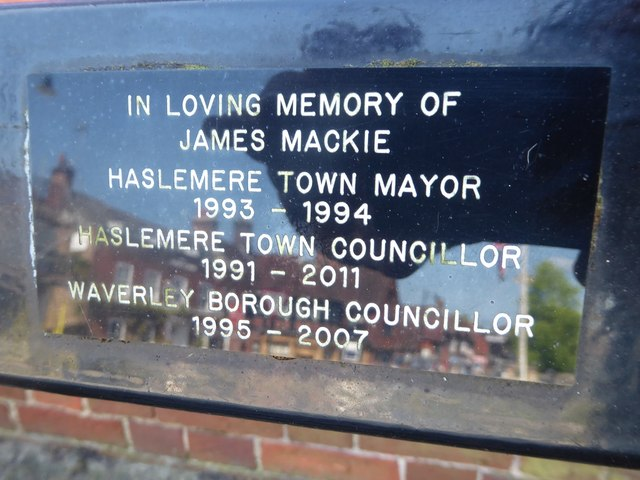 Plaque on a bench outside Haslemere Town Hall