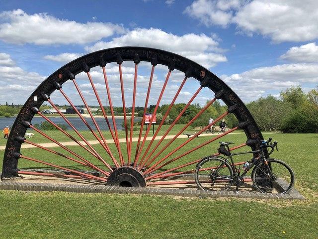 Commemorative colliery winding wheel Manvers Lake