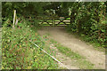 ST3604 : Electric fence across footpath, Forde Grange Farm by Derek Harper