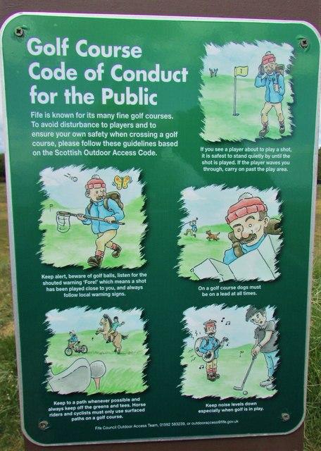 Notice on golf course