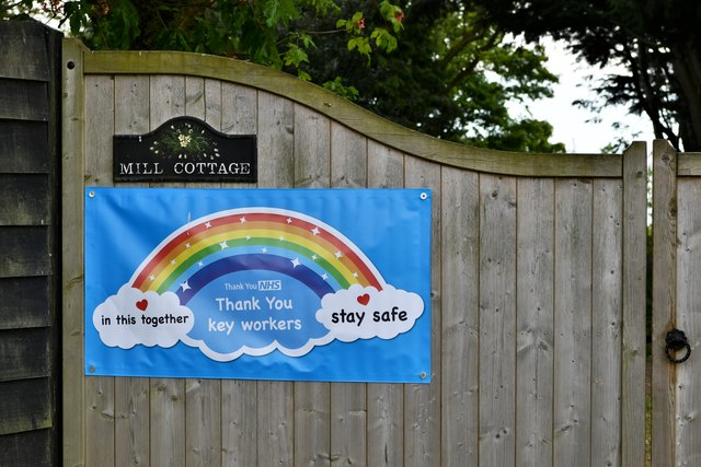 Tannington: Very relevant notice outside Mill Cottage