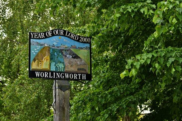 Worlingworth, Shop  Street: Millennium Village Sign