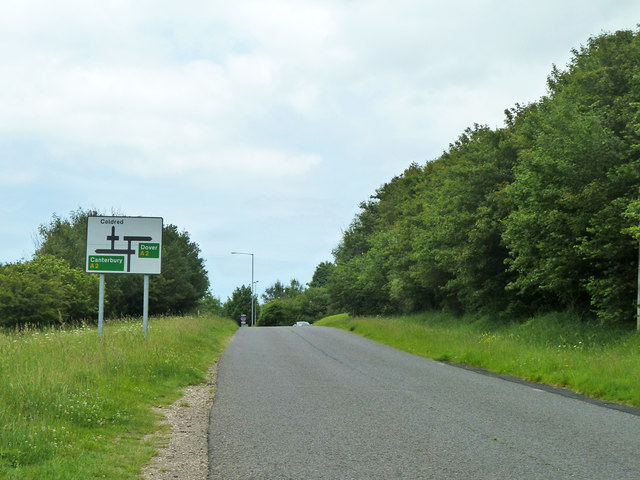 Coldred Hill climbs to the A2