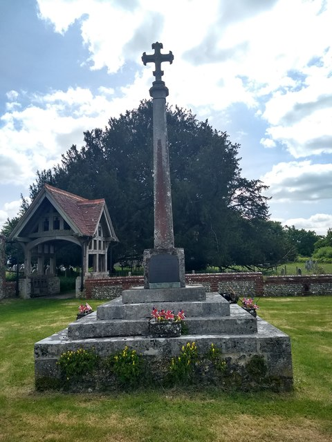 War memorial at Froxfield Green, dressed for the VE day anniversary
