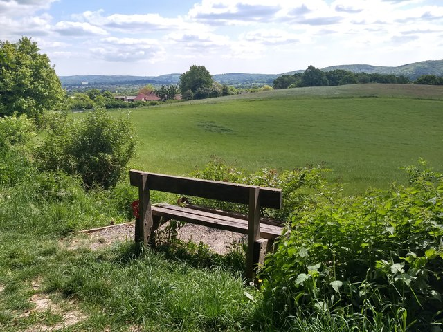 Bench dedicated to Marine Richard Hollington and view towards the South Downs