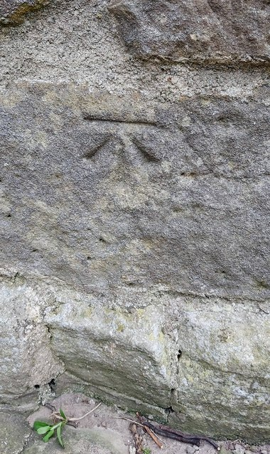 Benchmark on the NW corner of the tower of St. Mary's Church