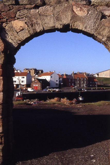 View to Dunbar Lifeboat Station from archway at battery