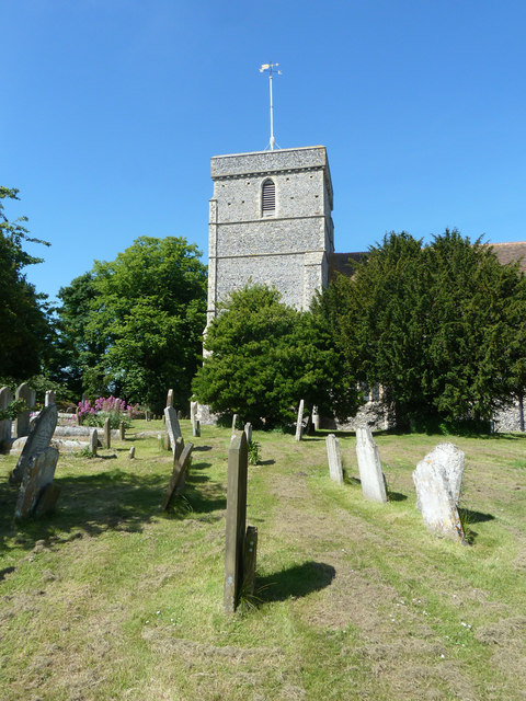 Eastry church tower and churchyard