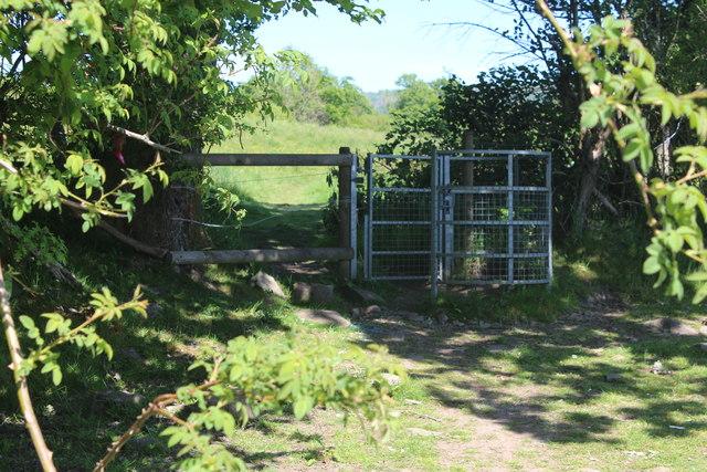 Gate on field footpath to Pennar Lane