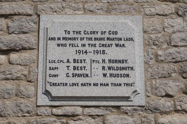 WW1 war memorial plaque