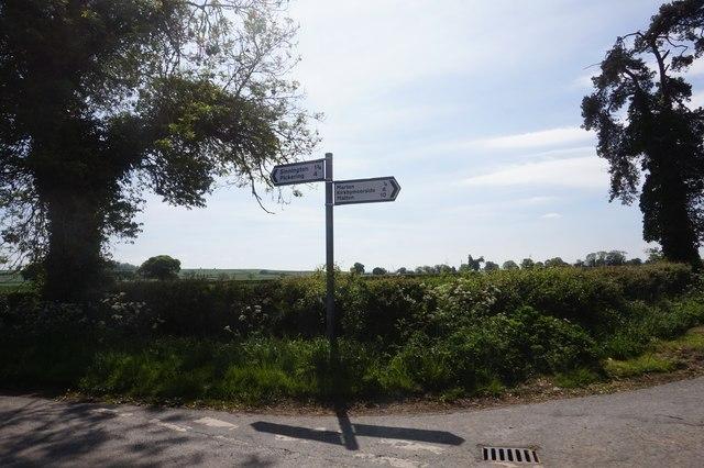 Road sign on Marton Road at Back Lane