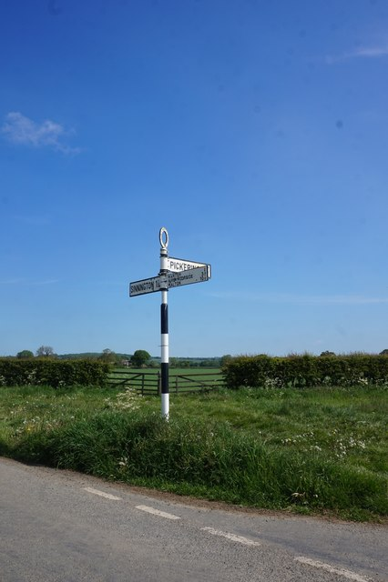 Road sign on Marton Road at Gallowheads Lane