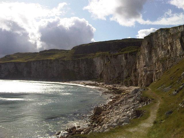 View of cliffs at Larrybane Quarry