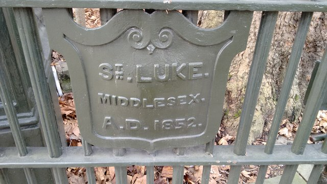 Fence plaque on St. Luke's Church (disused)
