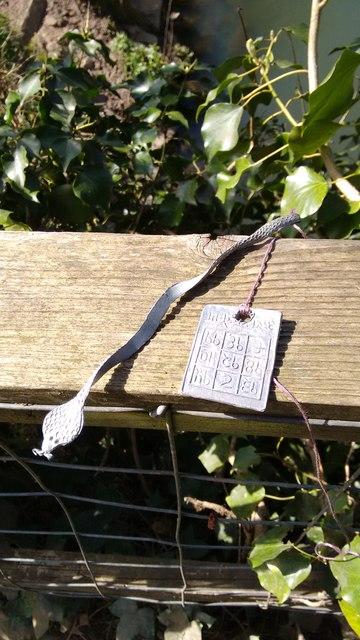 Closeup of strange trinkets hanging in tree near the River Avon at Stareton