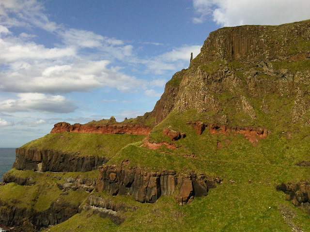 View The Causeway Coastal Path across the cliff face at Giant's Causeway