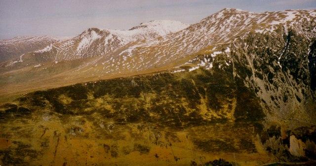 Braich Ty Du viewed across Nant Ffrancon Pass from Mynydd Perfedd