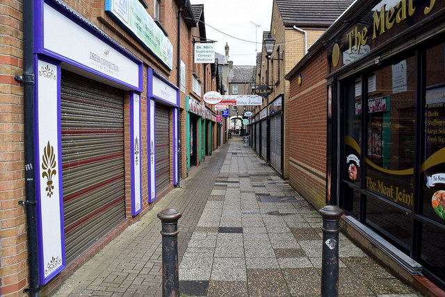 Shutters down along Foundry Lane, Omagh