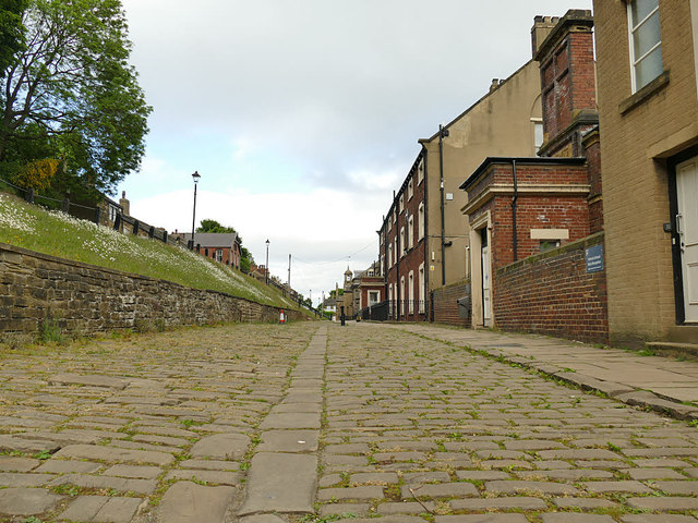 Stone-setted road in Fulneck village