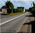 ST3193 : Double white lines in the middle of the main road through Llanfrechfa, Torfaen  by Jaggery