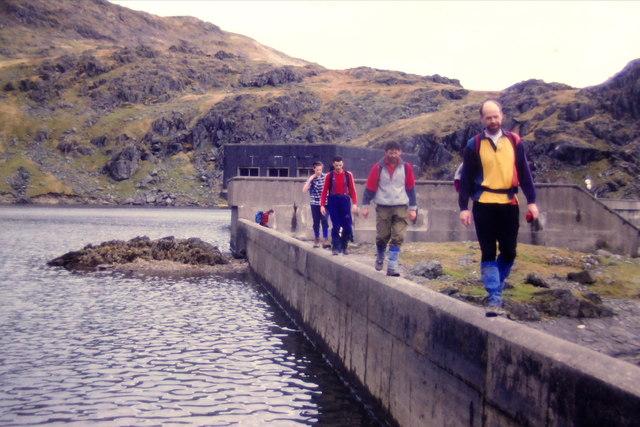 On the dam wall of Llyn Stwlan