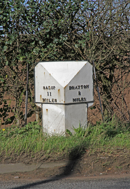 Old Milepost by the A53, north of Hopton Methodist Chapel