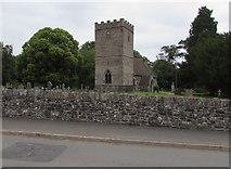 SO0725 : Village church tower, Llanfrynach, Powys by Jaggery