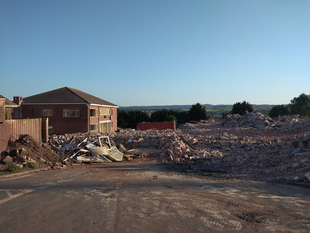 Rubble at demolition of Exeter Deaf Academy