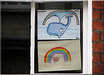 TG2208 : 48 St Giles Street - rainbows in a window by Evelyn Simak