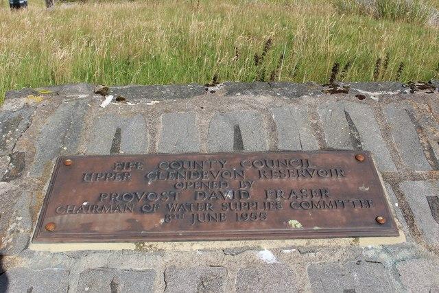 Upper Glendevon Reservoir Plaque
