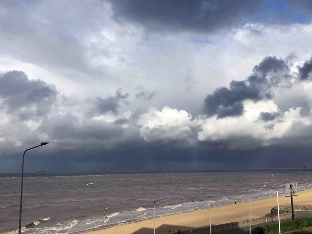 Stormy sky over The Humber at Cleethorpes