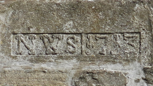 Date stone (1713) on a building at Blagill Farm