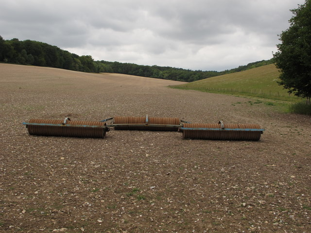 Rollers on freshly cultivated stubble field