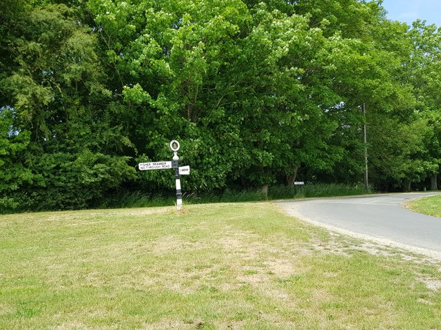 Fisher Lane junction with road sign, South Mundham