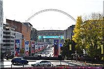 TQ1985 : Wembley Stadium down Olympic Way by N Chadwick