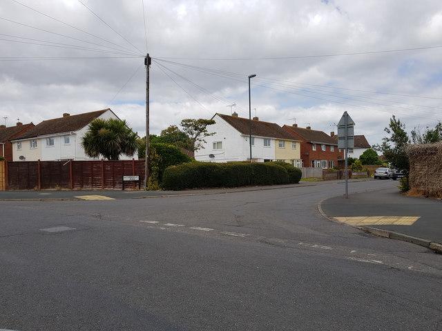 Corbishley Road as it joins Orchard Way, Bognor Regis