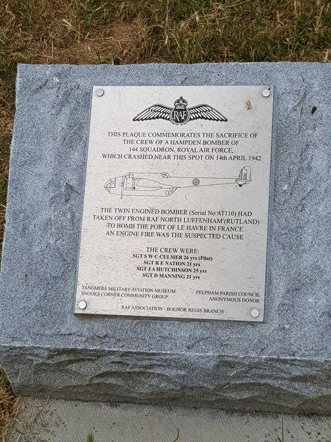 World War II commemorative plaque